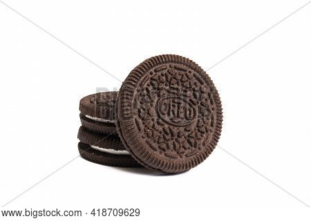 Belarus, Novopolotsk - 25 April, 2021: Oreo Cookies Isolated On White Background Close Up