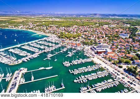 Biograd Na Moru Coastline And Marina Aerial View, Dalmatia Archipelago Of Croatia