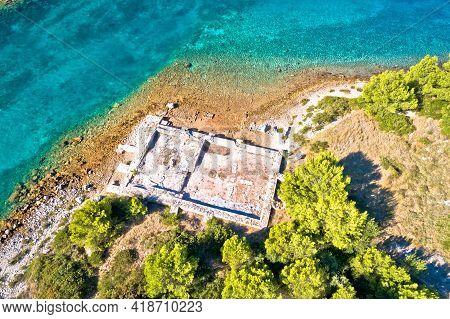 Roman  Historic Villa Rustica Ruins Aerial View, Dugi Otok Island, Kornati Archipelago Of Croatia