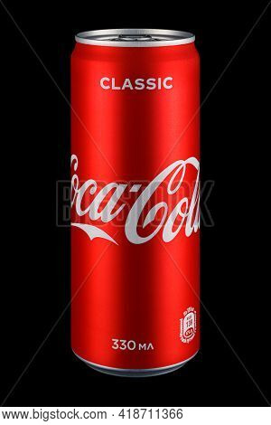 Moscow, Russia - April 07, 2021: Coca-cola Classic In Red Aluminum Can On Black Background. Coca Col