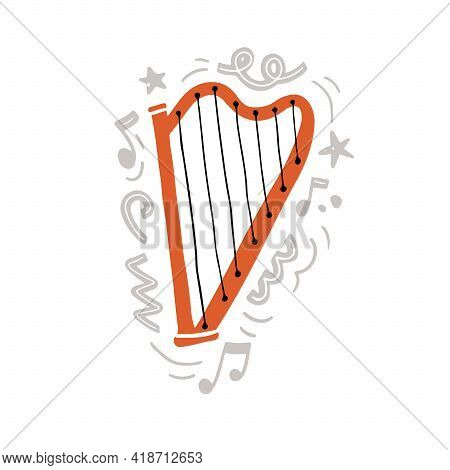 Vector Illustration Of Orange Traditional Harp With Black Strings Hand Drawn In Minimalist Flat Styl