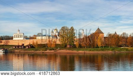 Panoramic Autumn Landscape View Of The Novgorod Kremlin, The Fortress Wall, Tower, Belfry And St. So