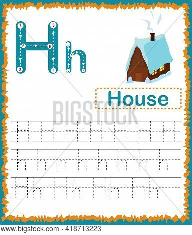 Vector Illustration Of Exercises With Cartoon Vocabulary For Kids. Colorful Letter H Uppercase And L