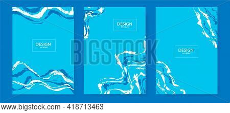 Abstract Minimalist Collection Of Blue Posters . In The Style Of Liquid. Suitable For Corporate Iden