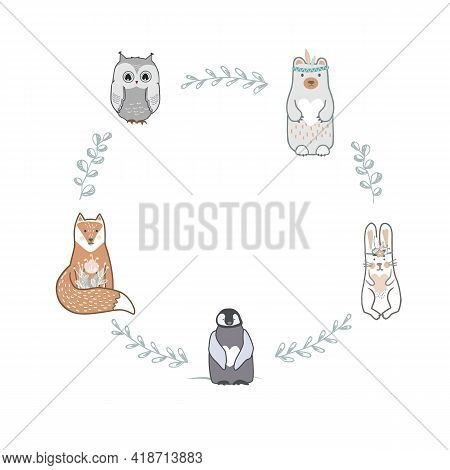 Round Shape Frame With Cute Baby Fox, Bear, Owl, Hare, And Penguin. Scandinavian Style, Doodle Fores