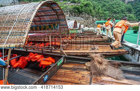 Wushan, Chongqing, China - May 7, 2010: Mini Three Gorges On Daning River. Docked Blue-red Tarp Cove