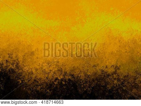 Orange Black Brown Yellow Antique Old Background With Blur, Gradient And Watercolor Texture. Space F
