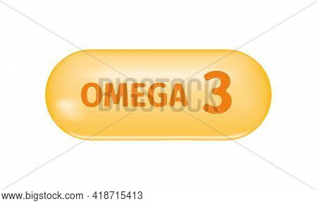 Golden Capsule With Text Omega 3. Pill Of Fish Oil, Polyunsaturated Fatty Acids. Healthcare And Beau