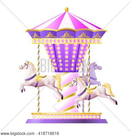 Retro Merry-go-round Carousel With Realistic White Toy Horses And Golden Lights Vector Illustration