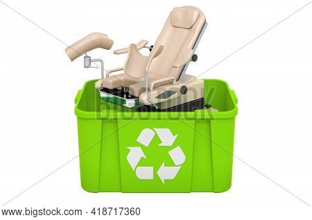 Recycling Trashcan With Gynecological Examination Chair. 3d Rendering Isolated On White Background