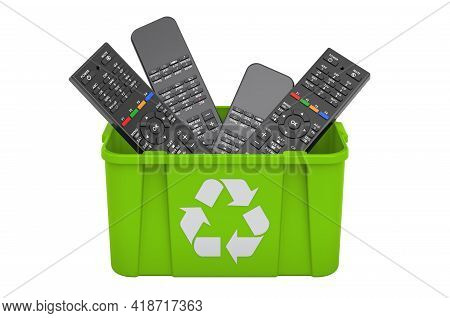 Recycling Trashcan With Tv Remote Control. 3d Rendering Isolated On White Background