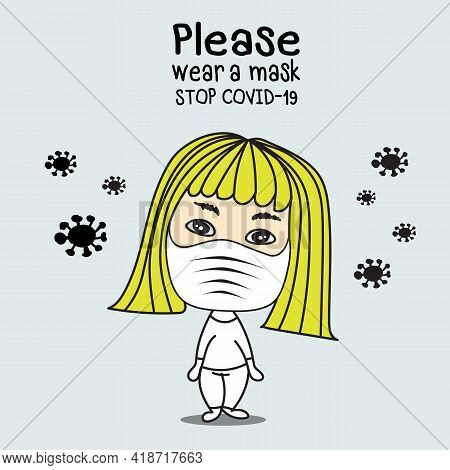 Young Woman Wearing Medical Mask On Face Protect From Virus. Please Wear A Mask, Stop Covid-19, Wome
