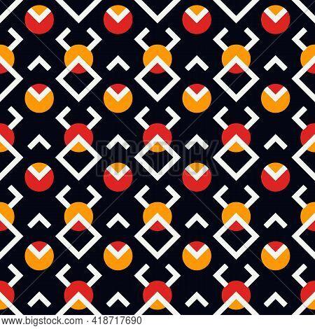Ethnic Seamless Pattern. Tribal Style Geometric Ornament. Repeated Diamonds, Circles Motif. Boho Chi