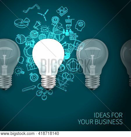 Business Idea Poster With Realistic Lightbulbs Set And Marketing Symbols On Background Vector Illust