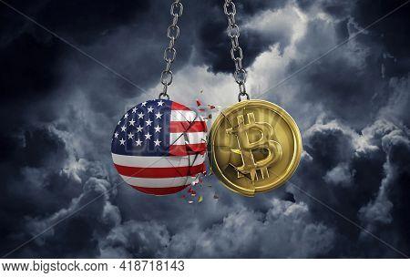 Usa Flag Smashing Into A Gold Bitcoin Crypto Coin. 3d Rendering