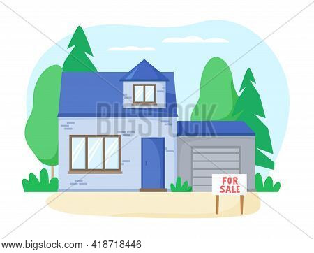 Separate Brick House With Garage For Sale. Nice Detached House With Greenery Im Suburb. Flat Design