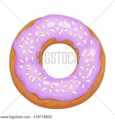 Donut Glazed With Colorful Sugar And Icing And Topped With Sprinkles Lying Isolated On White Backgro