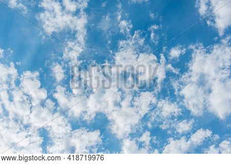 Clouds On The Blue Sky. Cloudscape At Day Time.
