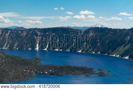 Deep Blue Crater Lake In Oregon State