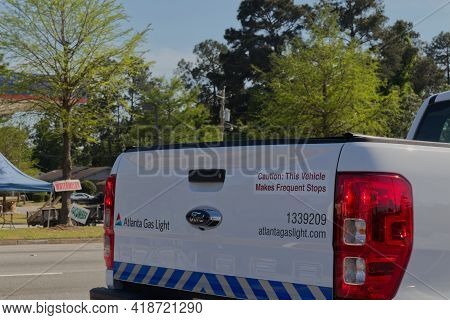 Richmond County, Ga Usa - 04 25 21: Rear Of A Atlanta Gas Light Truck With Signs And Messages
