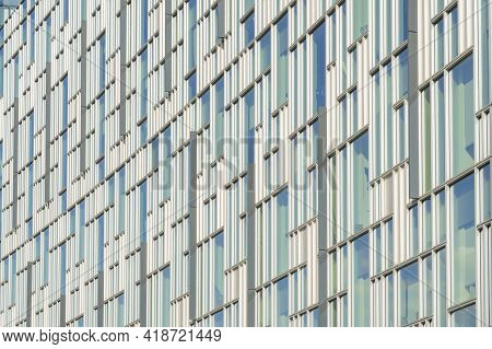 July 2020. London. Windows And Architectural Detail In Greenwich Peninsula, London, England