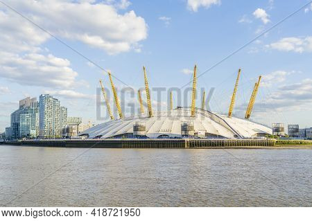 July 2020. London. Millenium Dome And The River Thames, London, England