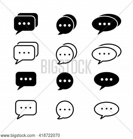 Social Media Message, Comic Bubbles And Chat. Think Sticker, Comment Speech And Talk Bubble Icons. L