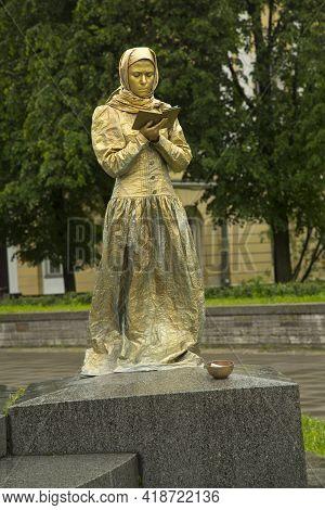 Saint-petersburg, Russia. 01 July 2017. Day Of Dostoevsky In St. Petersburg, Living Statue.