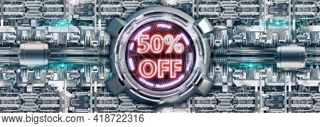 50% Discount Isolated On Metallic Background, Neon Red Cyber Promotional Stamp And Technology Electr