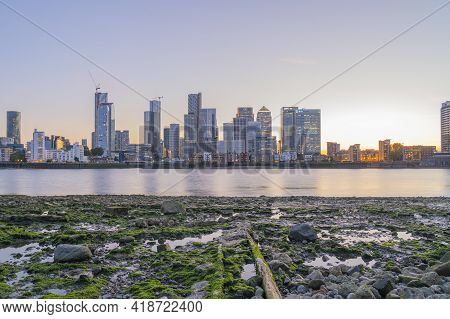 July 2020. London. View Of Canary Wharf And The River Thames, London, England