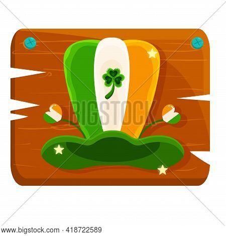Isolated Ireland Hat Wood Saitn Patricks Day Ireland Icon- Vector