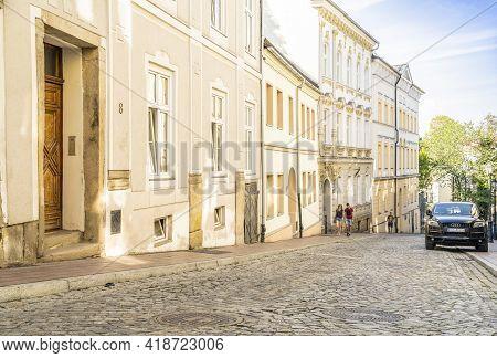August 2020. In Bielsko Biala, Silesia, Poland. Street Scene And Local Architecture In Bielsko Biala
