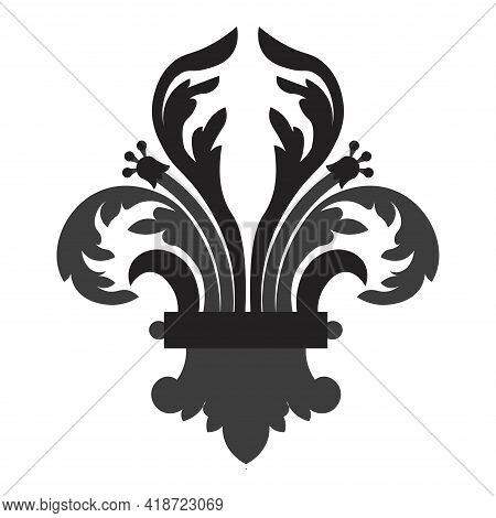 Isolated Fleur De Lis Insignia Black Elegant Emblem Icon - Vector