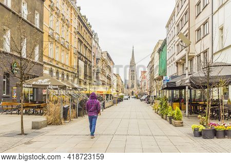 Katowice Poland. April 2019. Street Scene And The Immaculate Conception Catholic Church In Katowice,