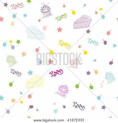 Vector illustration of various cup cakes. Pattern