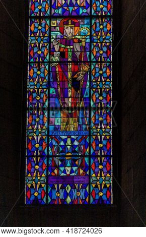 Katowice Poland. April 2019. Stained Glass Window In The Cathedral Of Christ The King, Katowice Pola