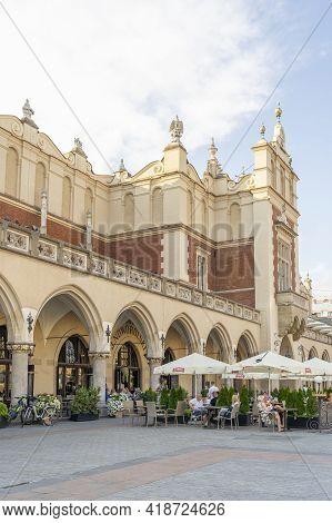 Krakow Poland August 2020. Restaurant Scene Outside Cloth Hall, Krakow, Lesser Poland, Poland