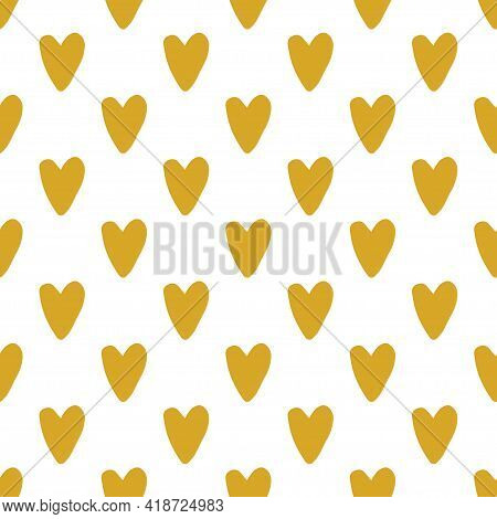 Vector Seamless Pattern. Hand Drawn Yellow Heart On White Background Illustration. Cute Design For B
