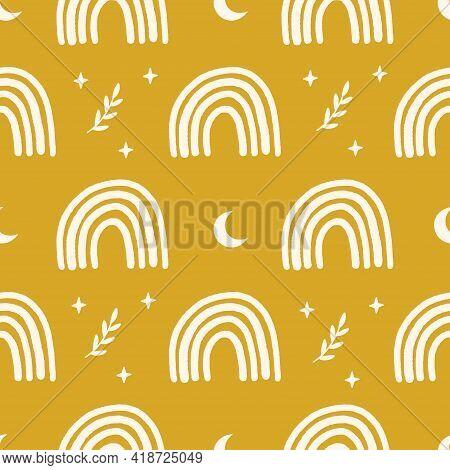 Magic Vector Seamless Pattern Illustration. Hand Drawn Boho Nursery Rainbow, Moon, Stars Branch On Y