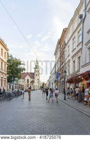 Krakow Poland August 2020. Street Scene And Saints Peter And Paul Church, Krakow Poland,