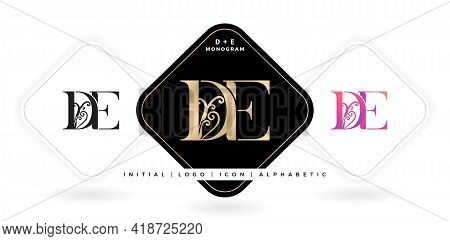De Initial Letter And Graphic Name, De Monogram, For Wedding Couple, Company And Icon Business, With