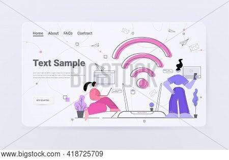 Businesswomen Using Digital Gadgets People Surfing Internet Free Wifi Public Access Zone Hotspot Con