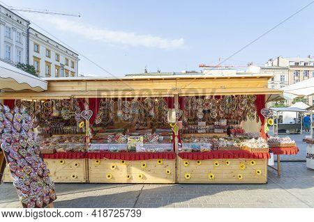 Krakow Poland August 2020. Market Stall, Krakow, Old Town, Lesser Poland Poland