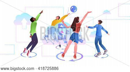 Mix Race People Having Fun Online Social Media Network Cloud Syncing Data Synchronization
