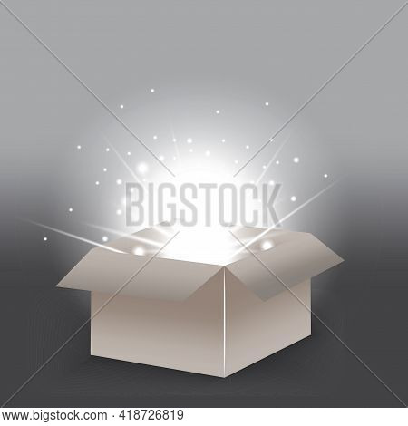 Open Gift Box Isolated. Light Effect. 3d Open Box For Game Background Design. Vector Illustration. S