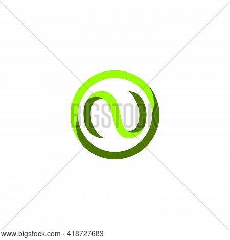 Letter N Curves Dimensional Circle Green Logo Vector