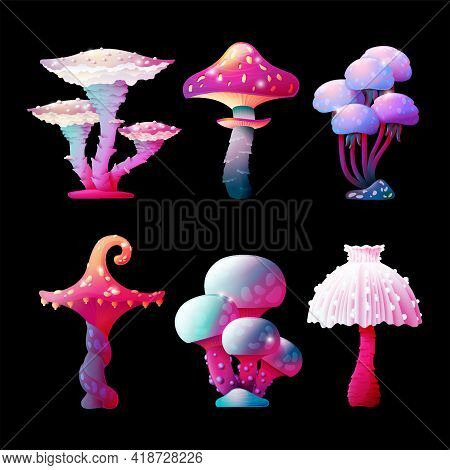 Set Of Colorful Fantasy Magic Mushrooms Vector Design Isolated In A Dark Background. Fungus And Unre