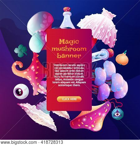 Social Media Or Article Template Background. Colorful Fantasy Magic Mushrooms, Witchcraft Accessorie