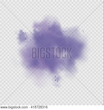 Purple Dust Or Fog. Abstract Purple Powder Explosion With Particles. Violet Smoke Or Dust Isolated O