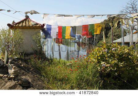 Buddhist Prayer Flags at Pemayangtse Monastery